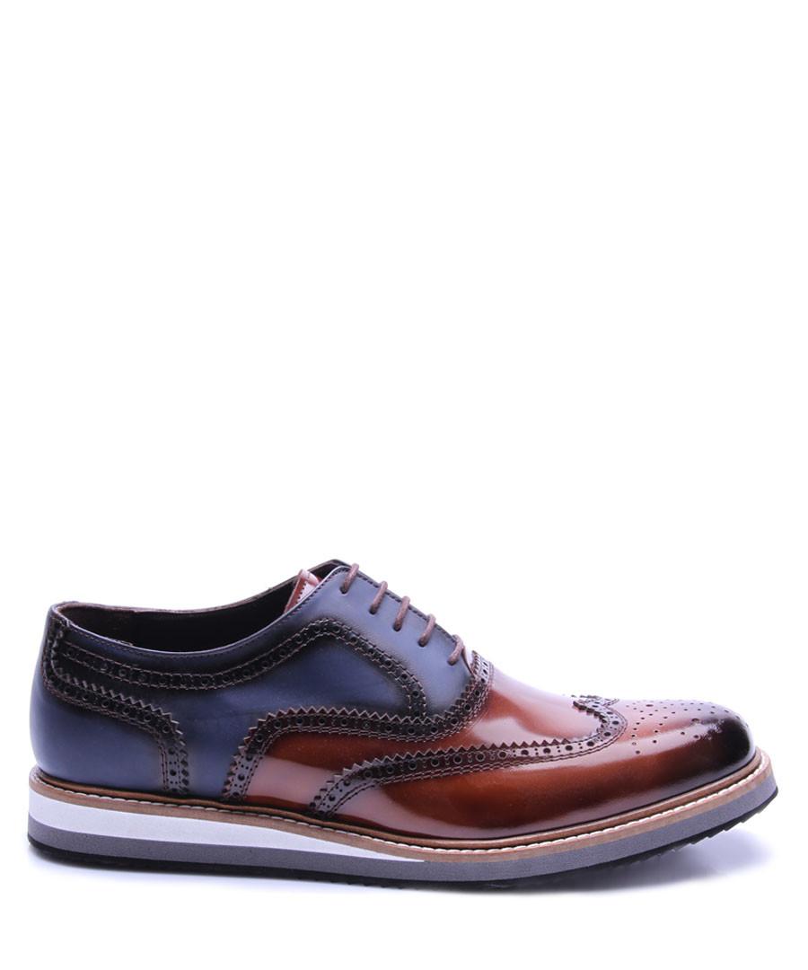 Dark blue & tobacco leather brogues Sale - REPRISE