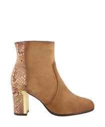Tan leather & snake-effect heeled boots