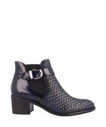Navy leather buckled heeled boots