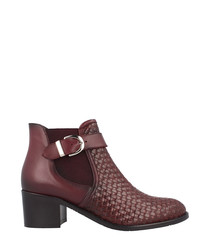 Burgundy leather buckled heeled boots