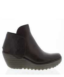 Nevada brown leather wedge boots