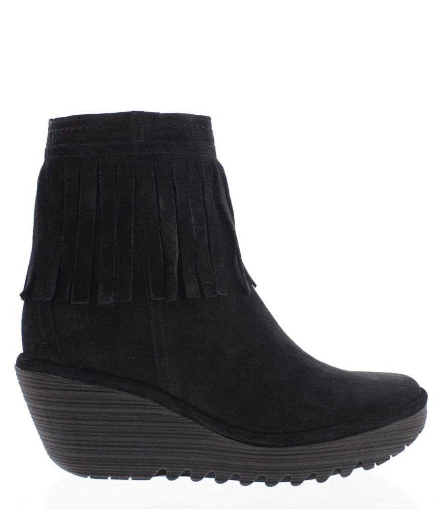 Black leather fringe wedge boots Sale - fly london