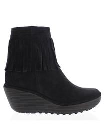 Black leather fringe wedge boots