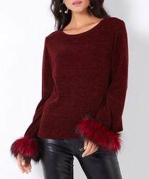 Burgundy faux fur cuff jumper