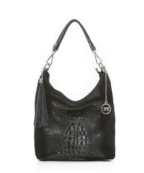 Black leather moc-croc slouch bag