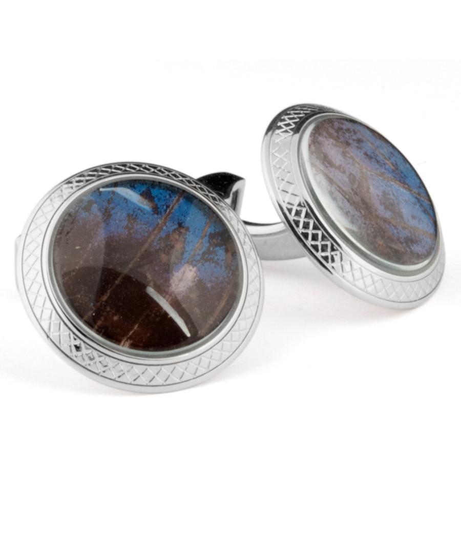 Silver-tone & blue rhodium cufflinks Sale - Tateossian London