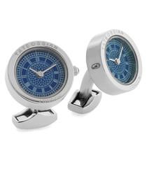 Silver-tone & blue steel cufflinks