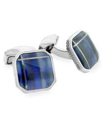 Silver-tone & blue tartan cufflinks