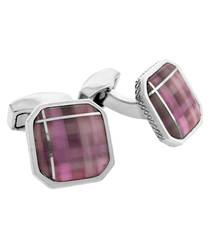 Silver-tone & purple tartan cufflinks