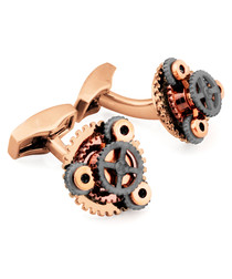 Rose-plated gear cufflinks