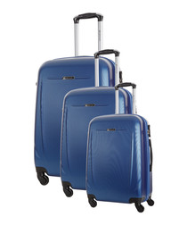 3pc blue spinner suitcase set