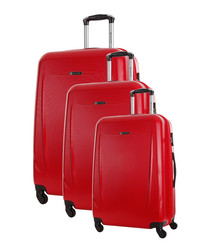 3pc red spinner suitcase set