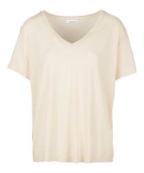Light pink V-neck short sleeve T-shirt