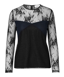 Black cotton blend lace blouse