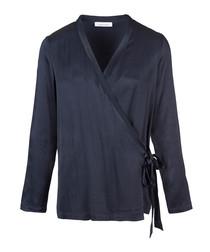 Navy V-neck wrap front blouse