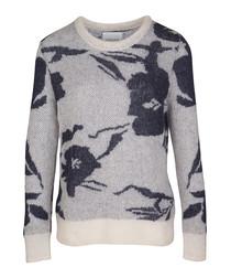 Grey mohair & wool blend floral jumper