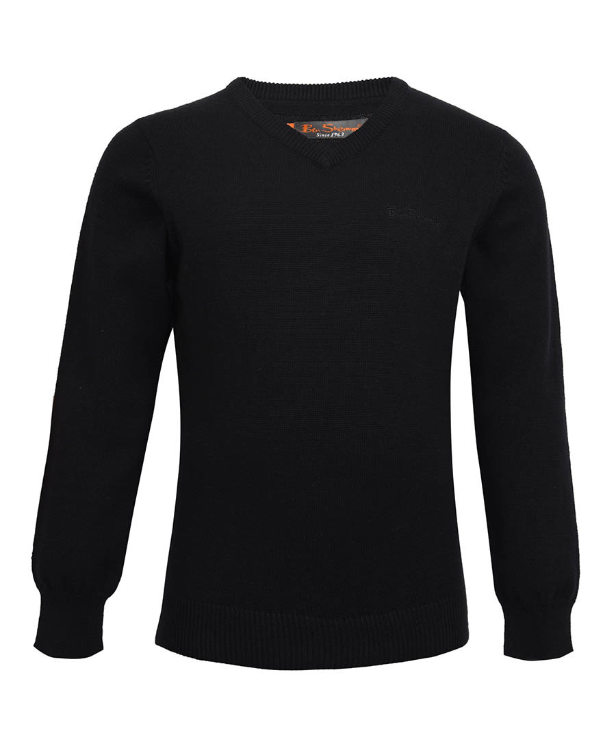 Boy's navy pure cotton V-neck jumper Sale - ben sherman