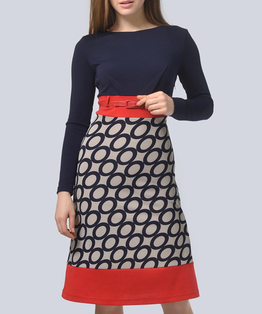 Navy & mocha waist belt midi dress Sale - Lila Kass