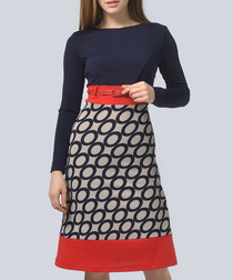 Navy & mocha waist belt midi dress