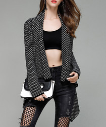 Black pure cotton waterfall cardigan