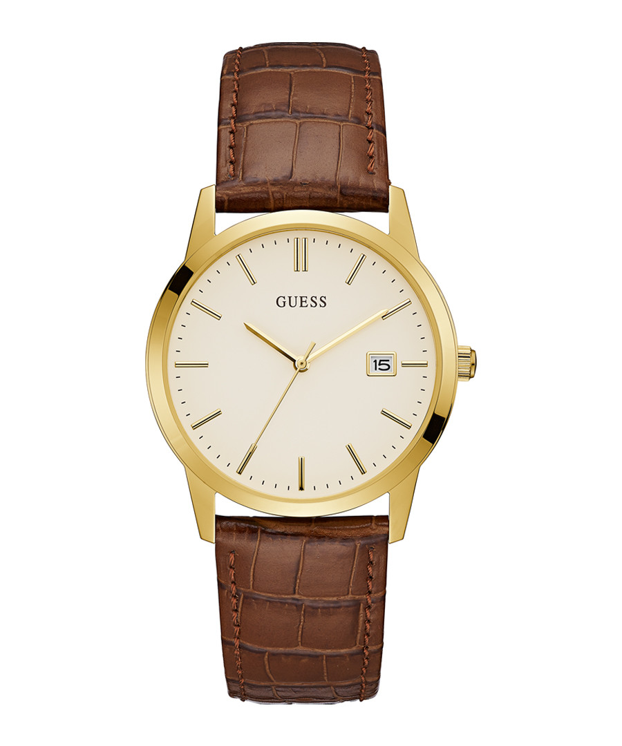 Camden brown & gold-tone leather watch Sale - guess