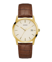 Camden brown & gold-tone leather watch
