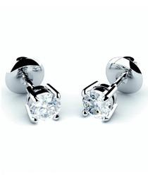 Platinum & diamond round stud earrings