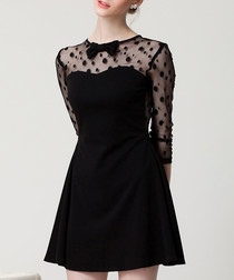 Black sheer panel bow detail mini dress