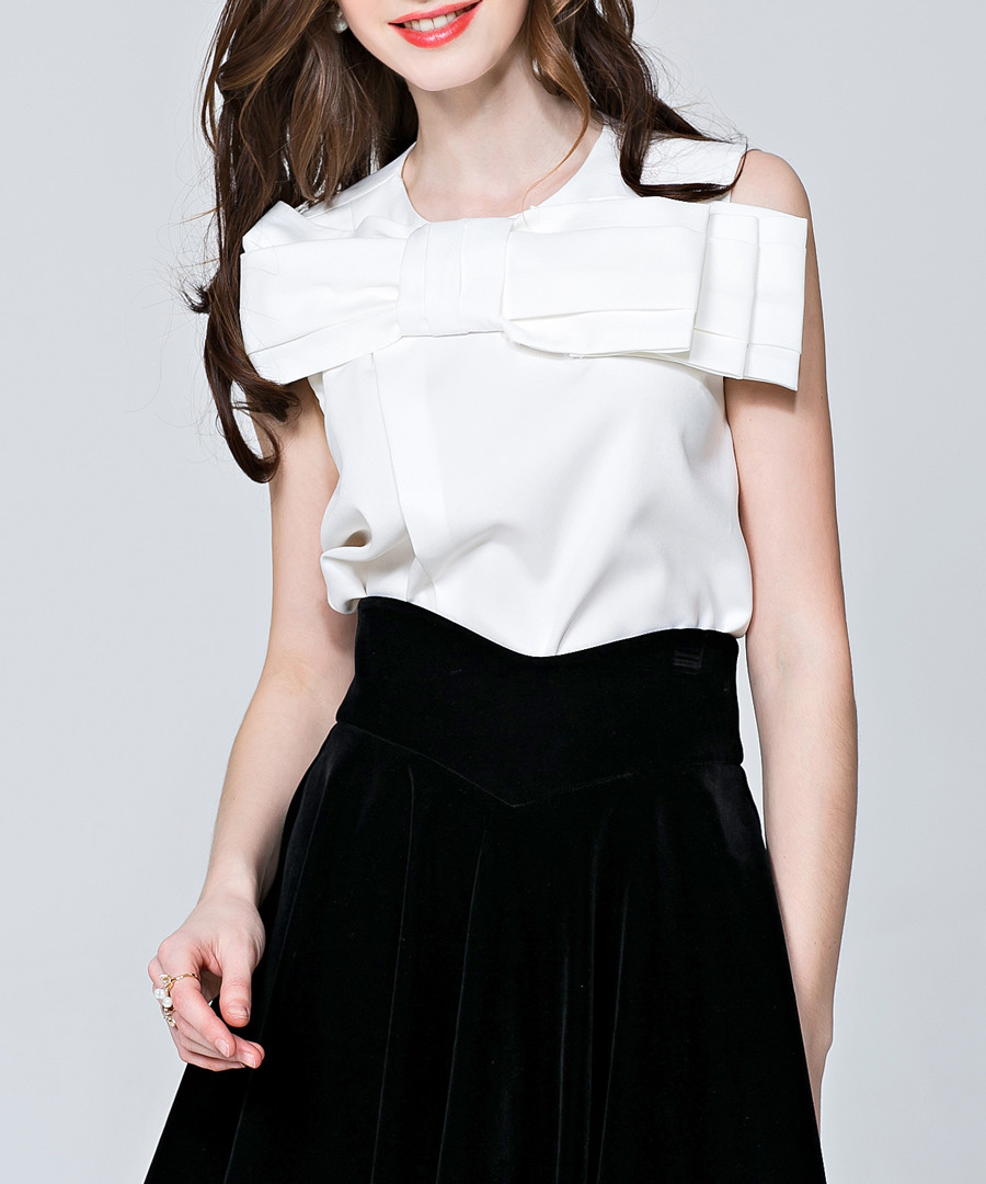 White bow detail sleeveless blouse Sale - sipaya