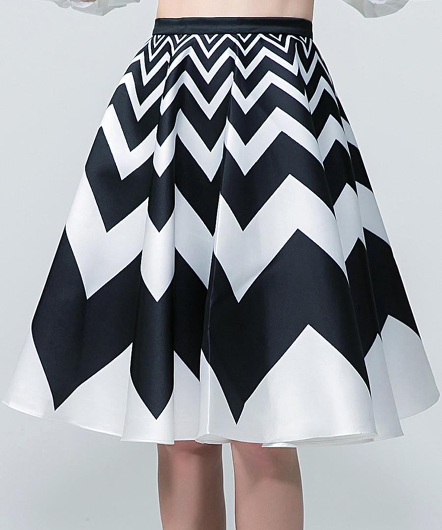 Black & white zigzag midi skirt Sale - sipaya