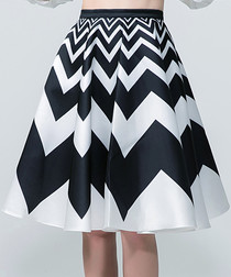 Black & white zigzag midi skirt