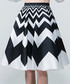 Black & white zigzag midi skirt Sale - sipaya Sale