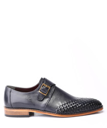 Black leather woven toe Derby shoes