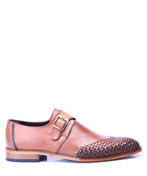 Tab leather woven toe Derby shoes