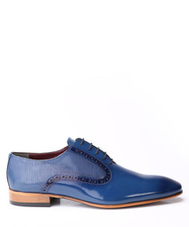 Dark blue leather two-tone Derby shoes