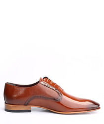 Tab leather two-tone Derby shoes
