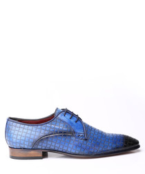 Blue leather textured Derby shoes