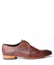Tab leather textured Derby shoes