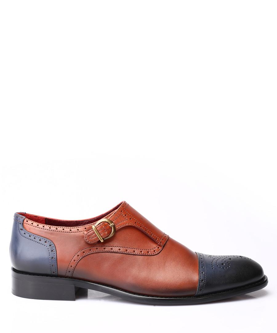 Navy & tan leather monkstrap shoes Sale - s baker