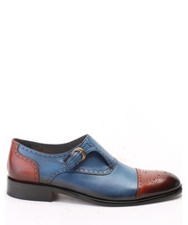 Navy & tan leather monk strap shoes