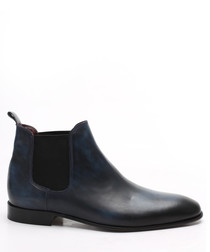 Dark blue leather Chelsea boots