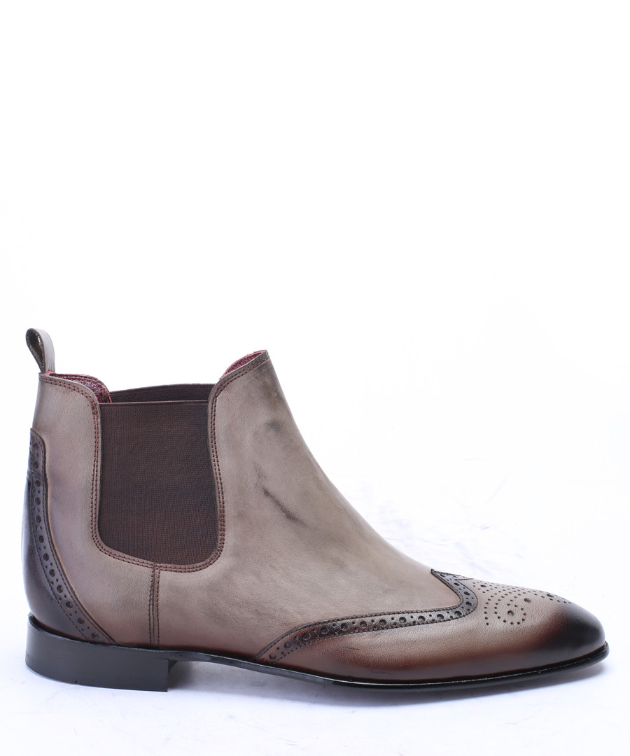 Tobacco leather brogue Chelsea boots Sale - s baker