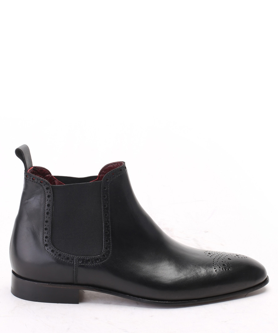 Black leather brogue Chelsea boots Sale - s baker