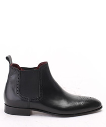 Black leather brogue Chelsea boots
