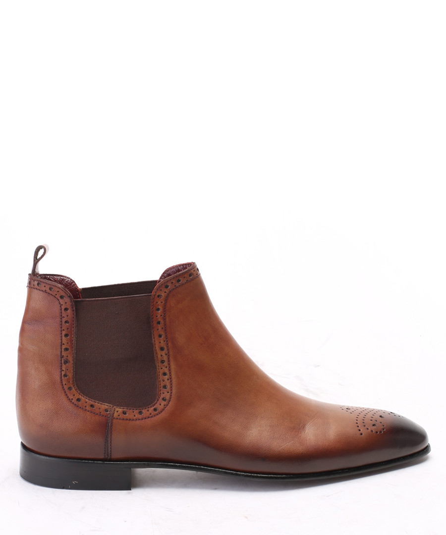 Walnut leather brogue  Chelsea boots Sale - s baker