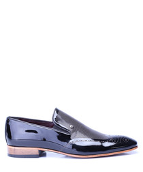 Black leather slip-on loafer shoes