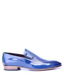 Dark blue leather slip-on loafer shoes