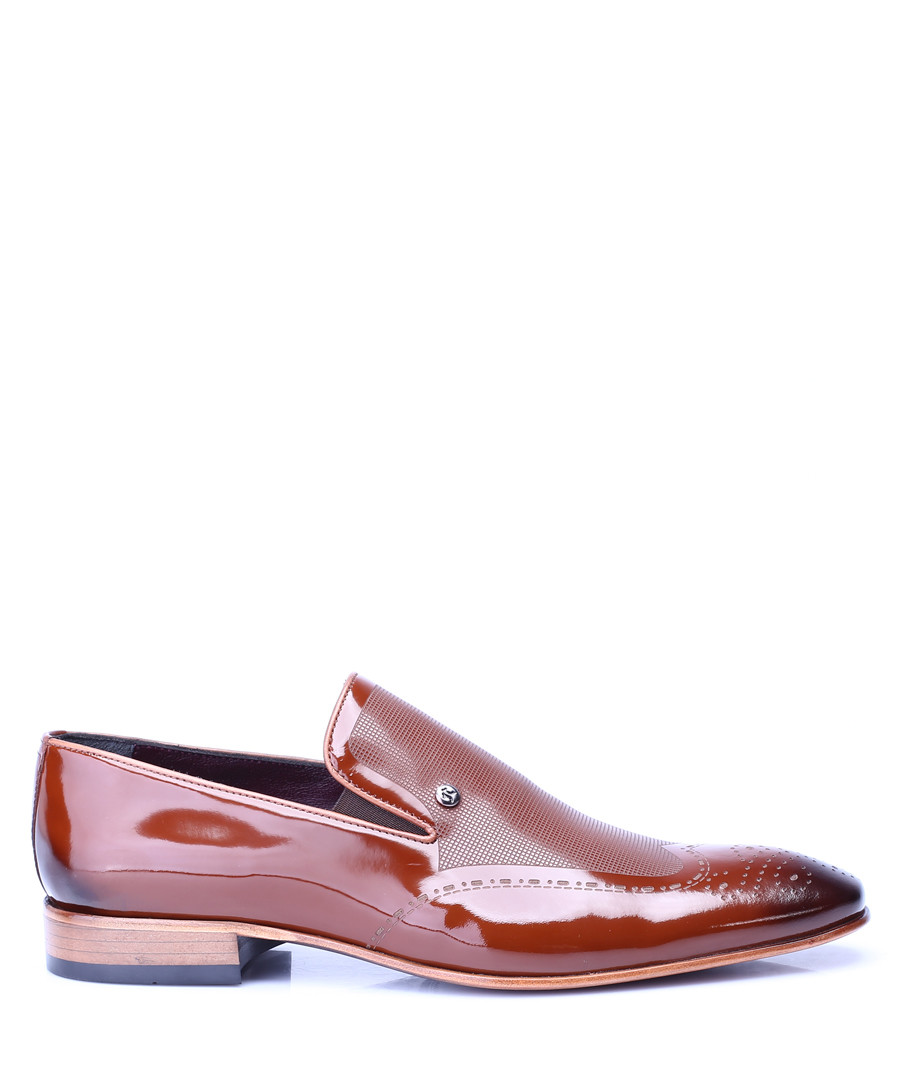 Tan patent leather slip-on loafer shoes Sale - s baker