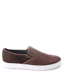 Brown leather textured slip on shoes