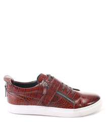 Tan leather moc-croc lace-up sneakers